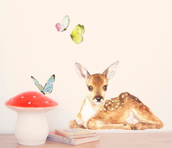 Little Fawn Wall Decal Fabric Wall Sticker  Not by chocovenyl