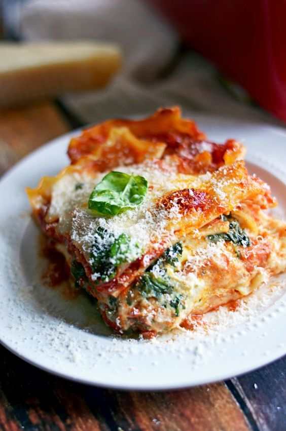 Get the recipe: four-cheese sausage and spinach lasagna                  Image Source: Host the Toast