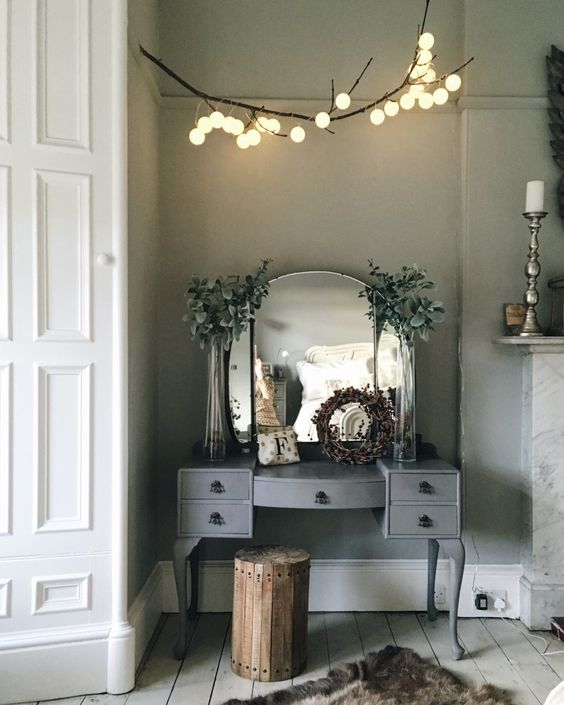 String Lights For Dressing Table : DIY: Hanging Branch Light String lights, Round mirrors and Dressing tables