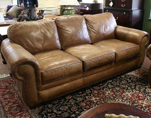 Charming Nailhead Leather Sofa Broyhill