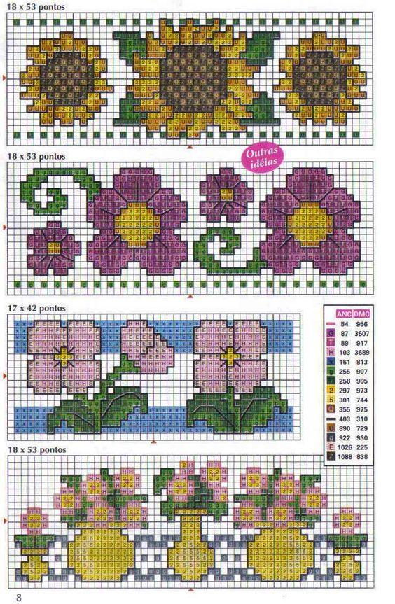 Schema punto croce bordi fiori vari 2 punto de cruz for Bordi punto croce