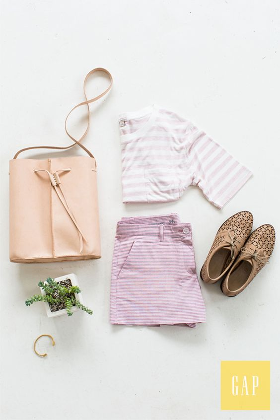 Pair breezy stripes with pastel hues for the perfect summer uniform. Blogger Sugar & Cloth styles her Gap shorts and tee with chic accessories. Shop this look.