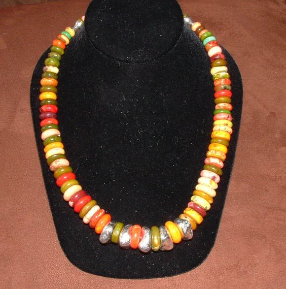 Spring, autumn, it doesn't matter - beautiful colors and a bit of fine silver accent - Autumn Sunshine necklace. $69.00, via Silverstreak on Etsy.