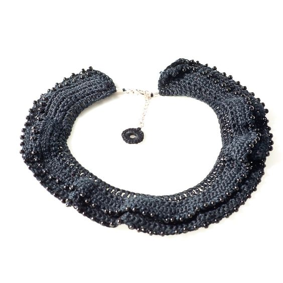 Crocheted Black Necklace