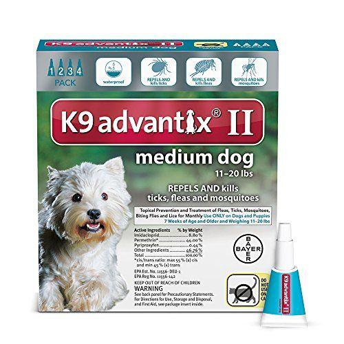 Bayer K9 Advantix Ii Flea Tick And Mosquito Prevention For Medium Dogs 11 20 Lb 4 Doses Click Image To Review More Deta Tick Control For Dogs Fleas Tick Treatment