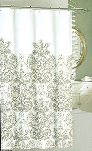 Nicole Miller Large Floral Ornate Medallion Fabric Shower Curtain 72 Inch By