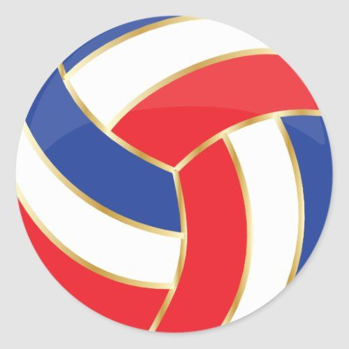 Red White Blue And Gold Volleyball Classic Round Sticker Zazzle Com In 2020 Classic Round Stickers Volleyball