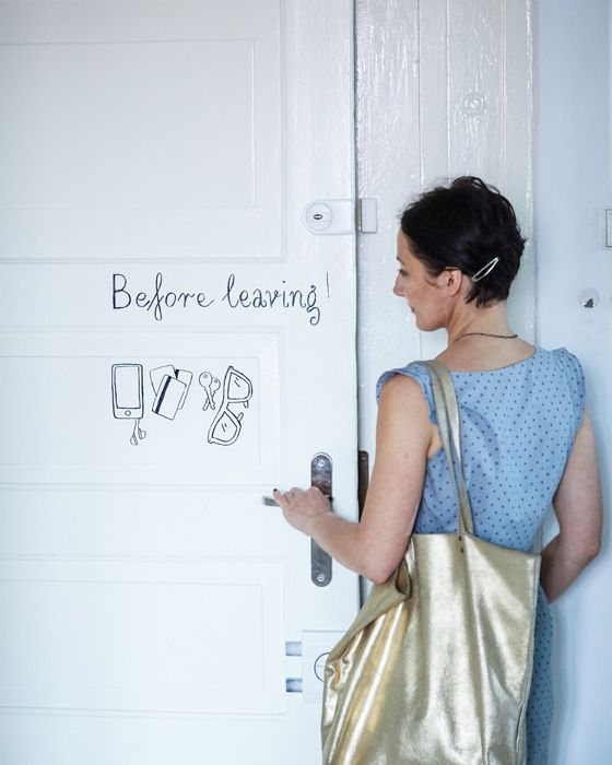 Paint a handy reminder on your door so you never leave the house without the essentials! #IKEAIDEAS