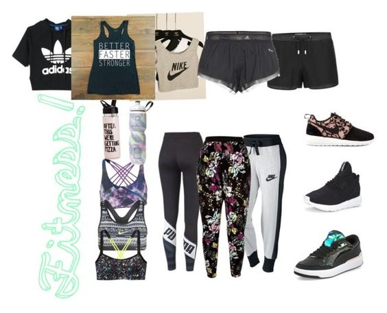 """Fitness!"" by ameelzies ❤ liked on Polyvore featuring adidas, adidas Originals, NIKE, Puma, Onzie, Victoria's Secret and River Island"