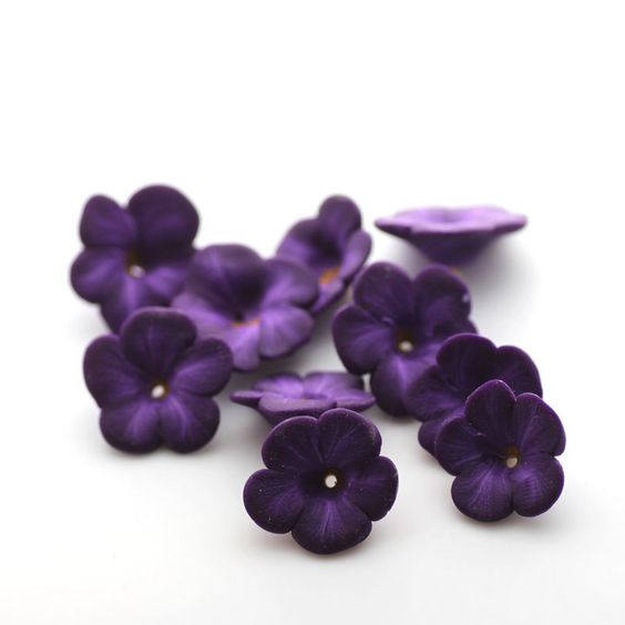Violet Beads, Polymer Clay Flowers, Purple Beads, Flower Beads 635. $10.00, via Etsy.