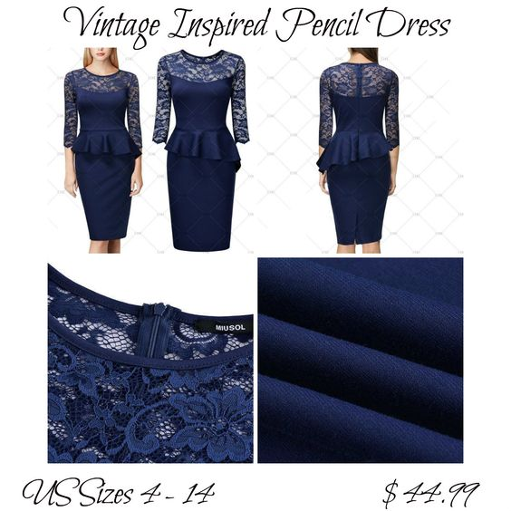 "This is a beautiful vintage inspired look pencil dress. Made of cotton, polyester and spandex. The dress has a round neck line, is a one piece, has a zipper in back, and a lace top.      Available in US sizes 4 - 14 with the following measurements:    Small, US 4 - 6, Bust 32.3""-  34.7"", Waist 27.6"", Dress Length 39.4""    Medium, US 8, Bust 34.2"" - 36.6"", Waist 29.5"", Dress Length 40.2""    Large, US 10, Bust 36.2"" - 38.6"", Waist 31.5"", Dress Length 40.2""    XLarge, US 12, Bust 38.2"" - 40.6""…"