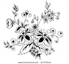 painted flowers black and white - Google Search