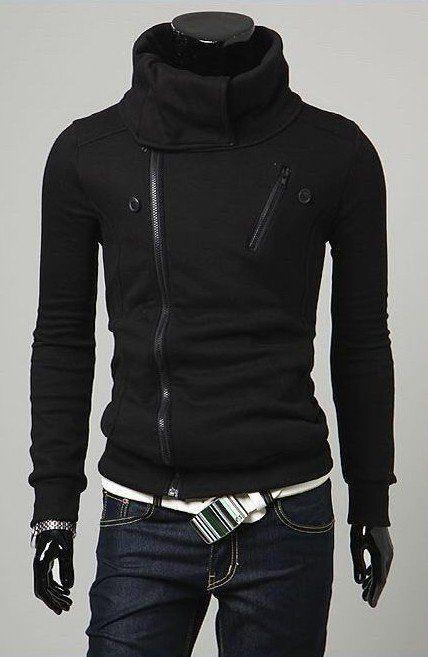 Men's Black Stand-Collar Double Zipper Cardigan $37.89