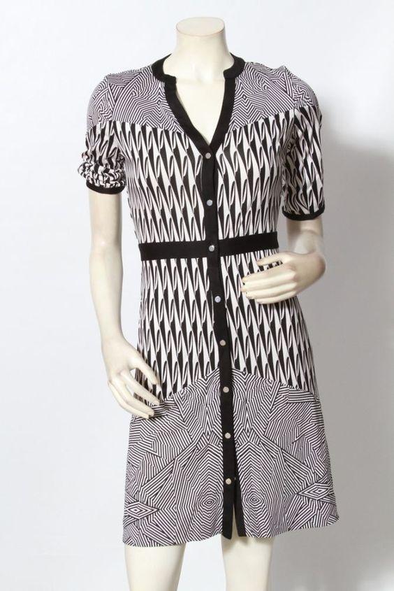 Diane von Furstenberg DVF Black & White Fiona Geometric Dress Sz S / M EUC #DianevonFurstenberg #ShirtDress #Casual