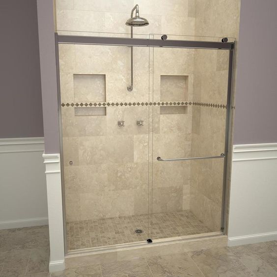 Redi Slide 76 In H X 56 In To 60 In W Semi Frameless Bypass Sliding Polished Chrome Shower Door In 2020 Shower Doors Sliding Shower Door Frameless Sliding Shower Doors