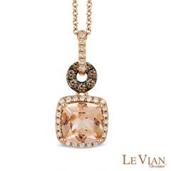 Le Vian® Morganite and 0.22 CT. T.W. Diamond Pendant in 14K Strawberry Gold™  - Peoples Jewellers