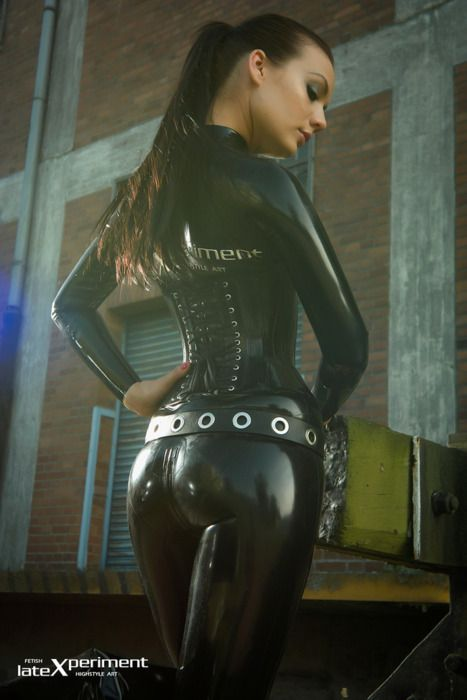 Latex catsuit corset Latexperiment Valerie Tramell