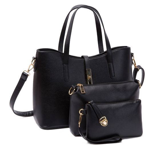 Sleek Buckle Handbag Set in Black (3pc-set), 23% discount @ PatPat Mom Baby Shopping App