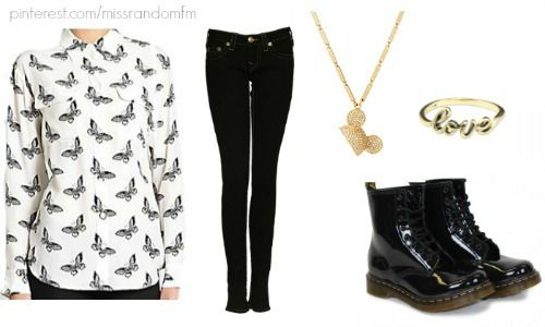 Minnie Evans.  Day one outfit.  SHIRT- Equipment Slim Signature Two Pocket Shirt in Butterfly Print Silk- Asos   Black jeans Gold love ring from silverliningsmd.com  ASOS Disney Couture Mawi Presents Minnie Gold Plated Swarovski Crystal Pave Set Ears Pendant Necklace  Black Dr.Martens