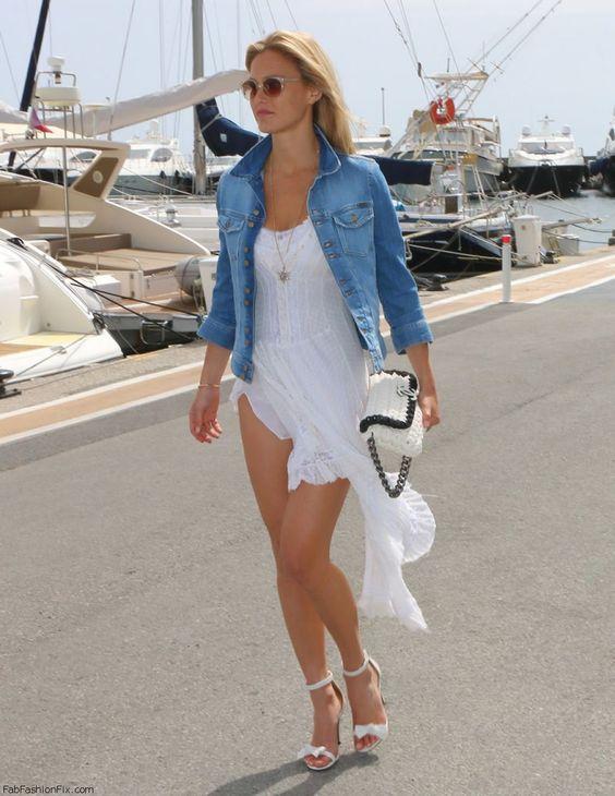 Bar Rafaeli spring street style with white dress and denim jacket.