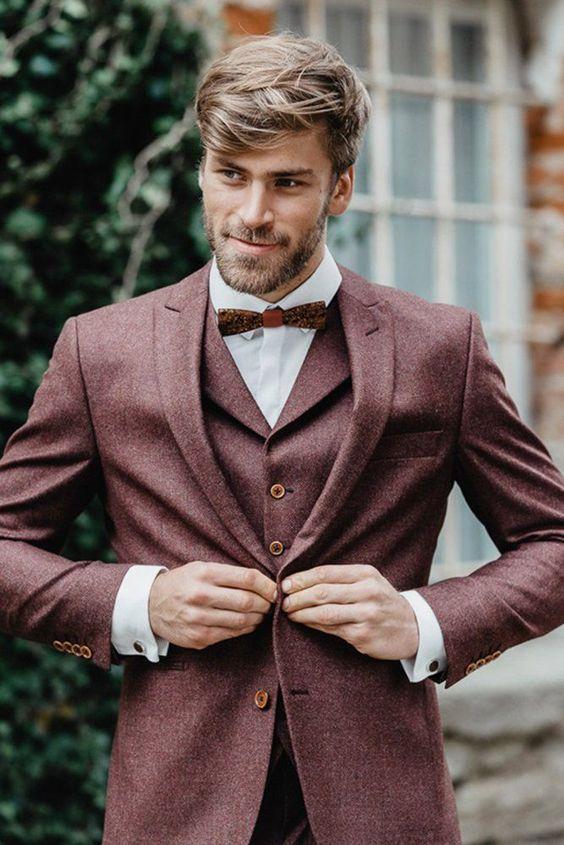 30 The Most Popular Groom Suits ❤  groom suits tweed with jacket bow tie fof fall ladonnahochzeitsatelier #weddingforward #wedding #bride