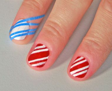 Cute for Christmas! Cut thin pieces of painters tape, place over dry white polish, then paint red. Viola!.. what a good idea!