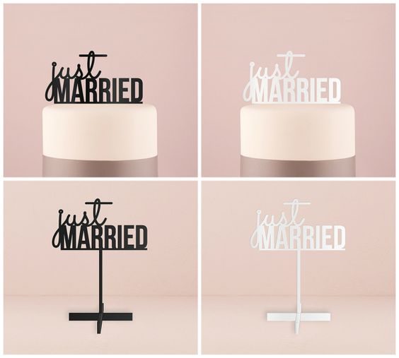 Just Married Wedding Cake Toppers and Signs from-HotRef