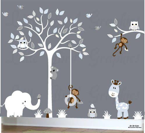 Décalcomanies blanches de pépinière de bébé de mur d\'arbre ...