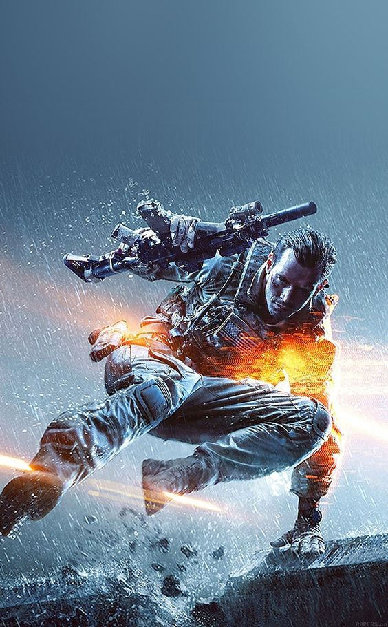 ↑↑TAP AND GET THE FREE APP! For Geeks Battlefield Grey Games Soldier Jump Weapon For Guys Cool Bright Flash HD iPhone 4 Wallpaper