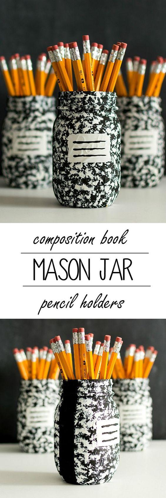 Desk organizer idea composition book mason jar jars for Mason jar holder ideas