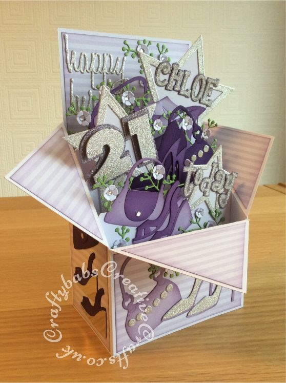 Large Pop Up Shoes Bags Themed 21st Birthday Card Made From 8 X8 Card Blank Numerous Dies Us 21st Birthday Cards Card Making Birthday Boxed Christmas Cards