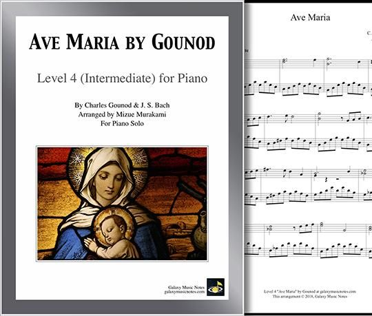 Ave Maria By Gounod And Bach Level 4 Piano Sheet Music With