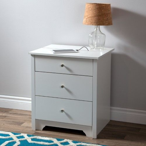 Vito Nightstand With Charging Station And Drawers By South Shore Black Nightstand With Charging Station White Nightstand Furniture