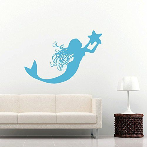 Mermaid Wall Decal Water Nymph Nature Fish Hair Beauty Sea Animal Wall Decals Vinyl Sticker Home Interior Wall Decor for Any Room Housewares Mural Design Graphic Bedroom Wall Decal Bathroom (5956), http://www.amazon.com/dp/B00LV3PXDO/ref=cm_sw_r_pi_awdm_5b8yub1SD1NMN