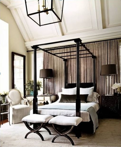 bedroom decor _ interior design ideas: neutral, grey, greige, taupe - love the draping