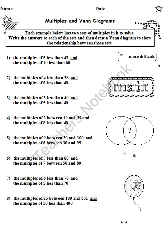 FACTORS AND MULTIPLES BUNDLE 12 WORKSHEETS Your download of 18 – Factor and Multiples Worksheets