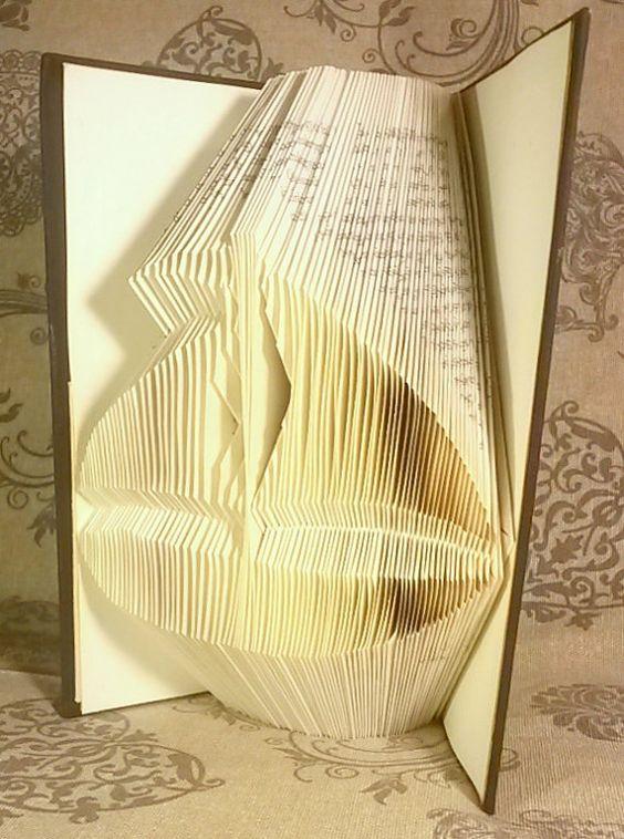 SHIP Folded Book  - Paper Art - Sailing - Wedding Decoration - Sea - Ocean - Water - Swim - Book Origami - E205
