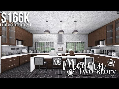 Modern Two Story Part2 Interior Roblox Bloxburg Gamingwithv Youtube House Design Kitchen Simple House Plans Modern Family House