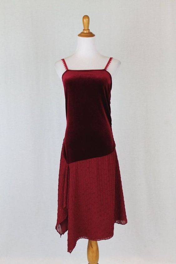 David Charles London Burgundy Red 1920's Style Flapper style Party Dress 14 Y…