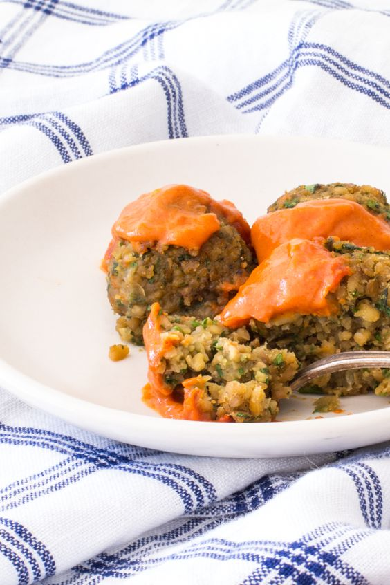 Baked Falafel with a Spicy Moroccan Sauce: