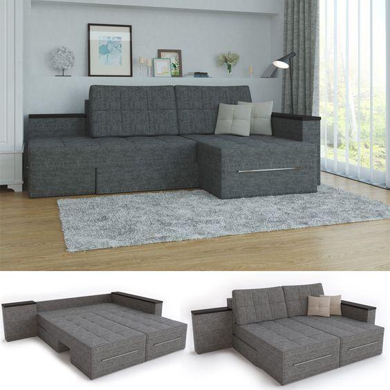 ecksofa mit schlaffunktion eckcouch sofa couch schlafsofa relax, Wohnzimmer dekoo