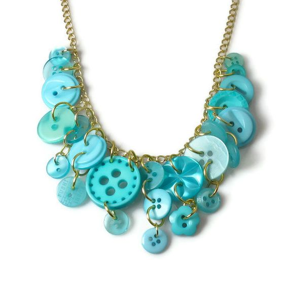 Button Necklace, Upcycled Jewelry, Aqua Turquoise