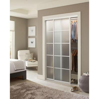 Contractors Wardrobe 48 in. x 81 in. Silhouette 5 Lite Aluminum Satin Clear Finish Interior Sliding Door-SI5-4881SC2R - The Home Depot