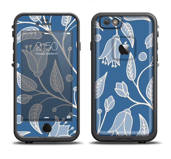 The White and Blue Vector Branches Apple iPhone 6/6s Plus LifeProof Fre Case Skin Set from DesignSkinz