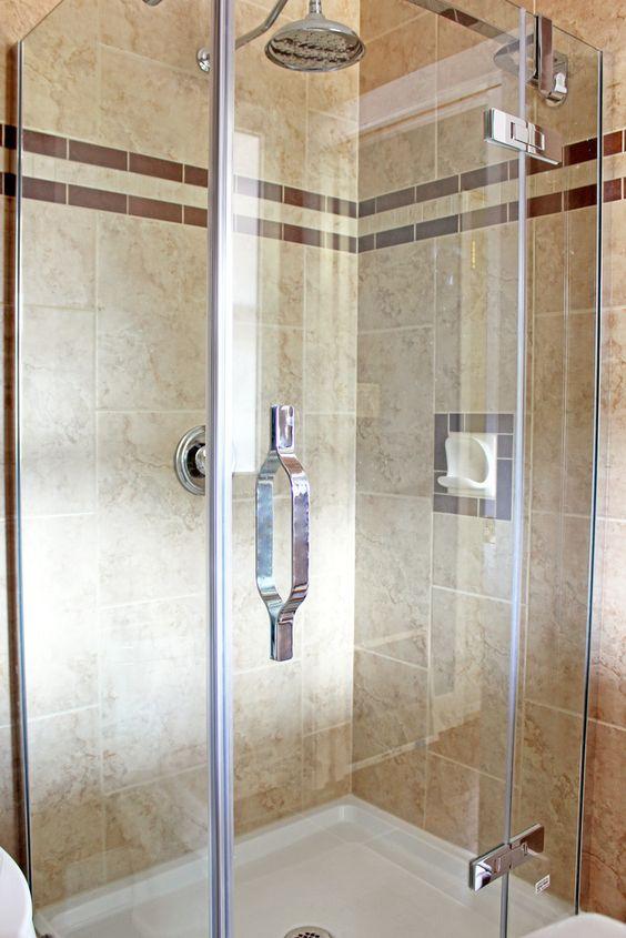New shower stall tiled floor to ceiling bathroom ideas for Shower stall remodel
