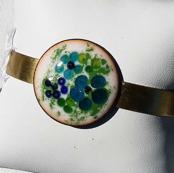 Romantic enamel bracelet with blue flowers by BreizhBijouxCreation