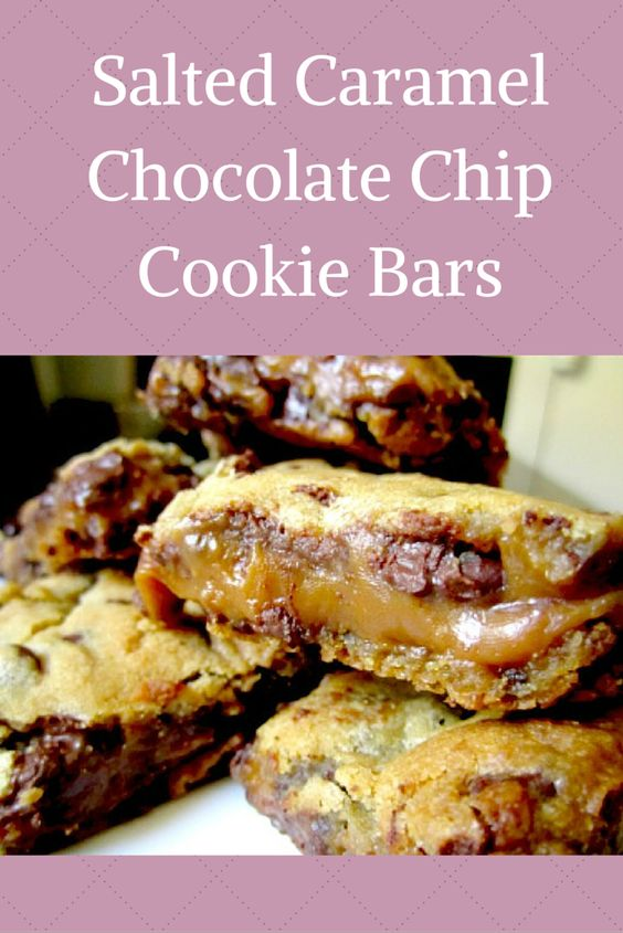 These salted caramel chocolate chip cookie bars are a new ...