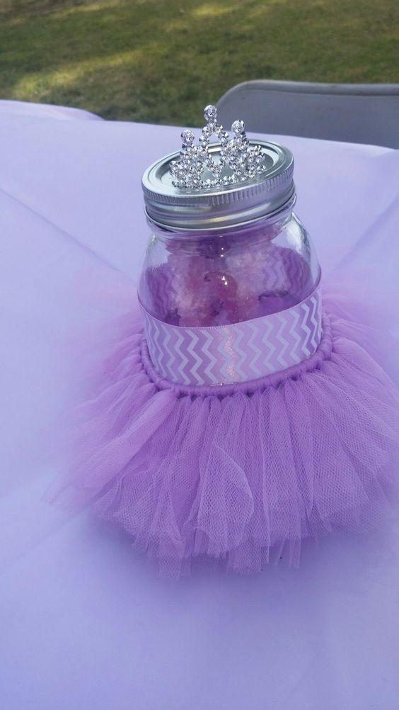 Purple tutu baby shower centerpiece