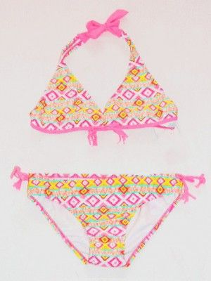 Malibu Dream Girl Pink & Yellow Aztec Print Bikini Swimsuit