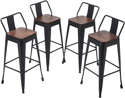 Yongqiang 30 Inch Metal Bar Stools Set Of 4 Low Back Kitchen Counter Height Chairs Barstools With Wooden Seat Bar Stools Metal Bar Stools Bar Stools With Backs 30 inch metal bar stools